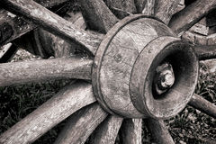 Antique Wood Wagon Wheel Hub and Old Wooden Spokes Royalty Free Stock Photos