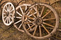 Antique Wood Wagon Wheels. Royalty Free Stock Photography