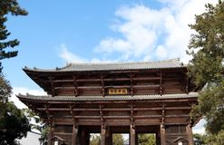 Antique wooden archway entrance of Todaiji temple. stock photography