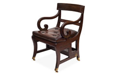 An Antique Wooden Armchair with Leather Upholstered Seat Stock Photography