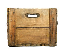 Antique Wooden Beer Case. Looking through the handle holes of a wooden beer case, white iso Royalty Free Stock Image