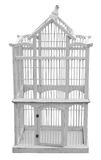 Antique Wooden Birdcage. Isolated with clipping path Royalty Free Stock Photos