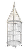 Antique wooden Birdcage. Isolated with clipping path Stock Images