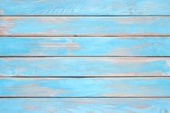 Blue wood planks, a shabby wooden surface of the kitchen table royalty free stock photos