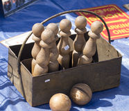 Antique wooden bowling set Royalty Free Stock Photos