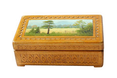 Antique wooden box. With painting Stock Photos