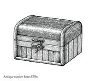 Antique wooden boxes hand drawing engraving style. Clip art isolated on white background Royalty Free Stock Photography