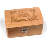 Antique wooden brown caskets box isolated on white Royalty Free Stock Image