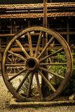 Antique wooden cartwheel Royalty Free Stock Images