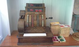 Antique Wooden Cash Register. A vintage cash register circa 1900 Stock Photos