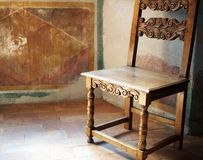Antique Wooden Chair, Roman Villa Stock Images