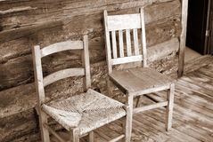 Antique Wooden Chairs on Porch Royalty Free Stock Photo