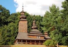 Antique wooden chapel. At ethnographic museum, Ukraine Stock Photos