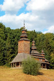 Antique wooden chapel. At ethnographic museum Pirogovo, Kyiv, Ukraine Royalty Free Stock Photo