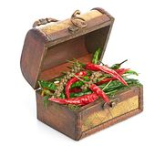 Antique wooden chest and spices Stock Photos