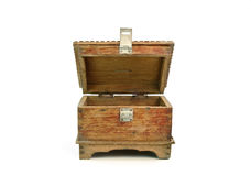 Antique wooden chest on white background Royalty Free Stock Photos