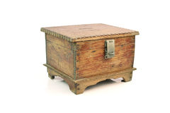 Antique wooden chest on white background Stock Photos