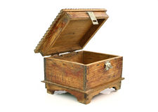 Antique wooden chest on white background Stock Photography