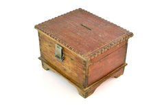 Antique wooden chest on white background Royalty Free Stock Image