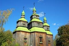 Antique wooden church. At ethnographic museum Pirogovo,  Kyiv, Ukraine Stock Photography