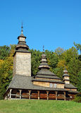 Antique wooden church. At ethnographic museum Pirogovo, Kiev, Ukraine Royalty Free Stock Images