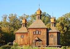 Antique wooden church. At ethnographic museum Pirogovo, Kiev, Ukraine Stock Photo