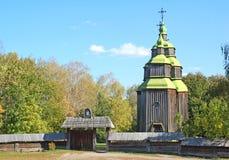 Antique wooden church. Antique traditional wooden church, Pirogovo, Kiev, Ukraine Royalty Free Stock Image