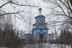 Antique Wooden Church in Winter Stock Photo
