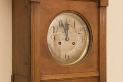 Antique wooden clock deadline 5 to 12 Royalty Free Stock Photo