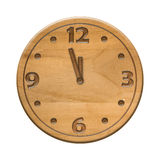 Antique wooden clock face on the white background Stock Image