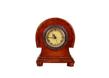 Antique wooden clock with roman numerals Royalty Free Stock Images