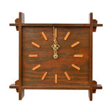 Antique, wooden clock on white background Royalty Free Stock Photography