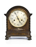 Antique Wooden Clock on White Background Stock Images