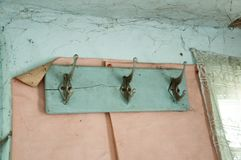 Antique wooden clothes hanger. stock photography