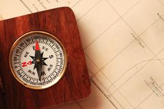 Antique wooden compass Stock Photo