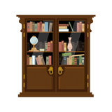 Antique Wooden Cupboard With Books Stock Images