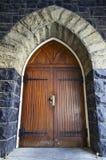 Antique Wooden Door. In Old Historic Stone Building Stock Image