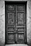 Antique wooden door. Black and white photo Royalty Free Stock Photography
