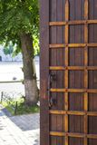 Antique wooden door with metal plates and handles. Around the elements of nature stock photography