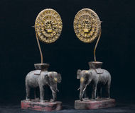 Antique wooden elephants Royalty Free Stock Photography