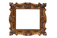 Antique wooden frame. Isolated on white background Stock Image