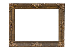 Antique wooden frame. Isolated on white background Stock Images