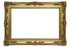 Antique wooden frame. Isolated on white Royalty Free Stock Photo