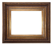 Antique wooden frame. Isolated on white background Royalty Free Stock Photo