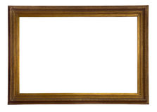 Antique wooden frame. Antique wooden golden frame isolated on white background Stock Image