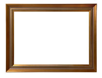 Antique wooden frame. Antique wooden golden frame isolated on white background Royalty Free Stock Photos