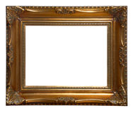 Antique wooden frame. Antique golden wooden frame isolated on white background Royalty Free Stock Images