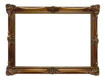 Antique wooden frame. Antique golden wooden frame isolated on white background Stock Photography