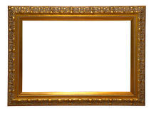 Antique wooden frame. Antique golden wooden frame isolated on white background Royalty Free Stock Photo