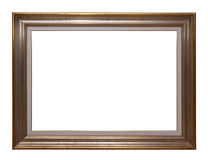Antique wooden frame. Antique golden wooden frame isolated on white background Stock Images